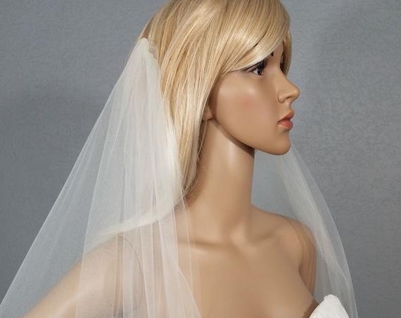 Wedding Veil, Bridal Vail, Draped Chapel Vale, Drape Veil, Ivory Veil, Drop Veil, Long Veil, Short Veil, Colored Veil, Pink Veil, Black Veil