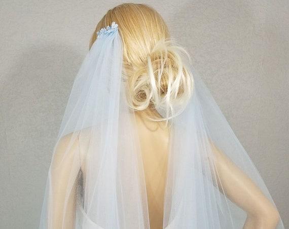 Draped Fingertip, Wedding Veil, Bridal Vail, Blue Vail, Short Veil, Long Veil, Colored Veil, 2 layers, Soft Blue Veil, Light Blue Veil