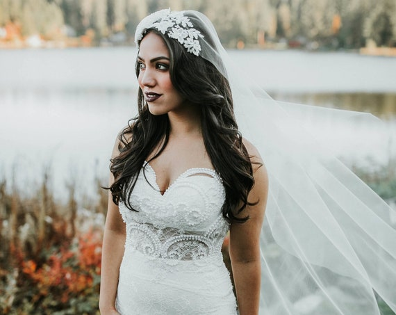 Ivory Wedding Veil, Bridal Cathedral Vail, Juliette Vale, Boho Veil, Elegant Veil, Lace Veil, Fascinator, Hat Veil, Crystal Veil, Tulle Veil