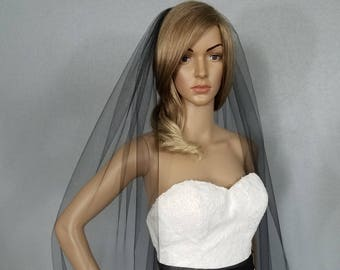 Black Wedding Veil Bridal Cathedral, One Layer Plain Vail, Accessory, Bridal Accessories, Sheer Veil