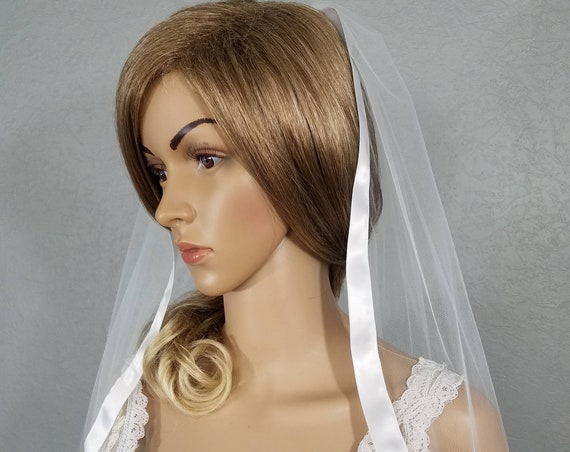 White Hip Wedding Veil, Bridal Vale, Ribbon Edge Vail, One Layer Veil, Short Veil, Ivory Veil, Black Veil, Colored Veil