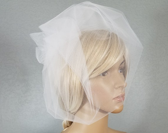 Birdcage Bridal Veil, White Wedding Veil, Rose Birdcage, Tulle Cage Veil, Two Tulle Rose Cage, Short Veil, Blusher Veil, White Birdcage