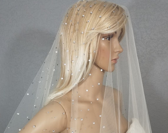 Wedding Veil, Bridal Veil, Drop Chapel Veil, Crystal Veil, Ivory Veil, Drop Veil, Free Shipping, Bride, White Veil, Long Veil