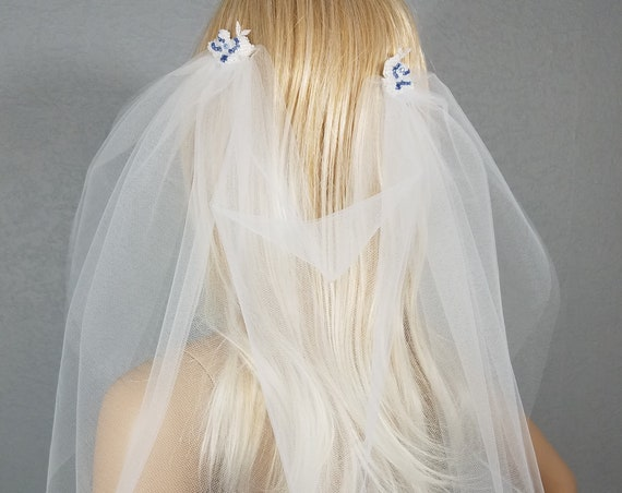 Wedding Veil, Bridal Vail, Draped Shoulder Vale, Diamond White and Blue, Drop Veil, Short Veil, White Veil, Drape Veil, Brides Veil, Lace