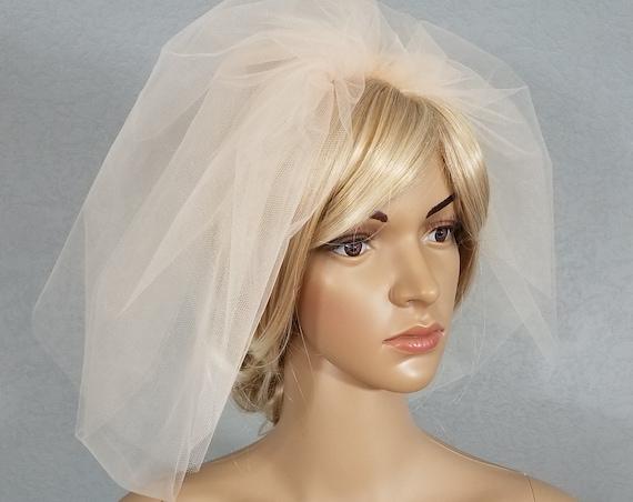 Wedding Veil, Bridal Vail, Bubble Veil with Blusher, Bubble Veil, Champagne Veil, White Veil, Ivory Veil, Pink Veil,  Bride, Gift