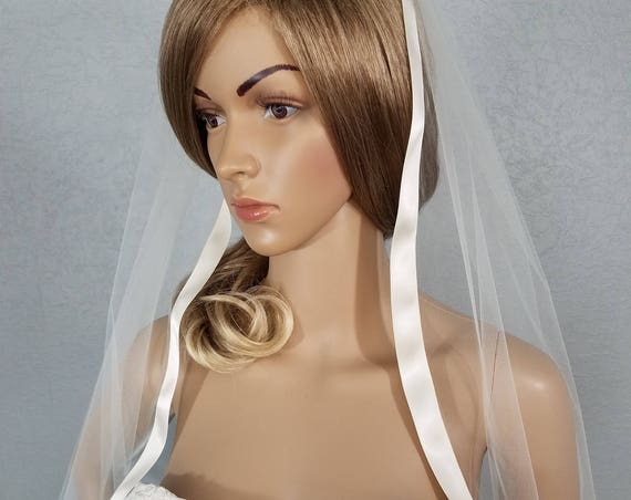 White Wedding Veil, Bridal Veil, Hip Veil, One Layer Veil, Ribbon Edge Veil, Bride Accessory, Wedding Veil, Ivory Veil, Black Veil, Bride