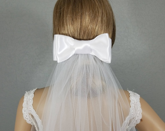 White Bridal Veil, Bow Vail, Wedding Vale, Long Veil, Short Veil, Colored Veil,  Ivory Veil,Black Veil, Pink Veil,Wide Bow Veil, Simple Veil