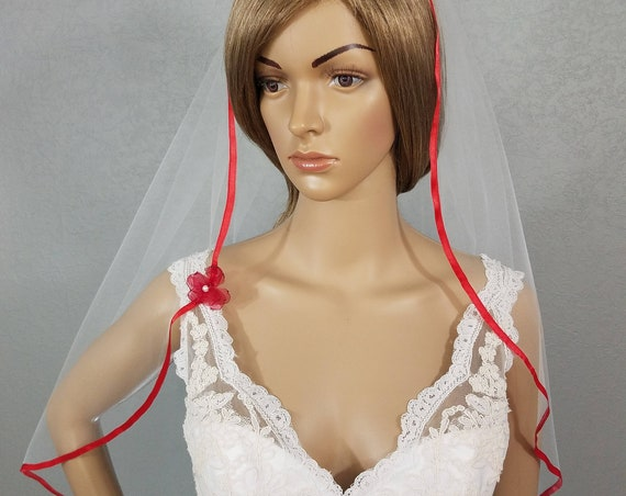 White Wedding Veil, Bridal Veil, Red Veil, Red Ribbon Edge Vail, Veil, Bridal Attire, Bridal Accessory, Bridal Accessories, Ribbon Veil