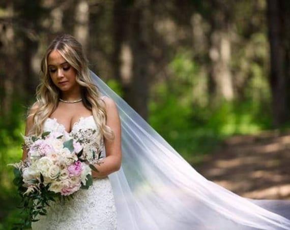 "Wedding Veil, Bridal Vail, Cathedral Drop Vale, 43"" Drop,  Colored Veil, Long Veil, White Veil, Ivory Veil, Pink Veil, Black Veil, Champagne"