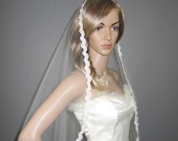Lace Wedding Veil, Ivory Wedding Veil, Bridal Waltz Veil, Crystal Veil, Wedding Vail, Bridal Accessory, Bridal Attire, Veil, Waltz Veil