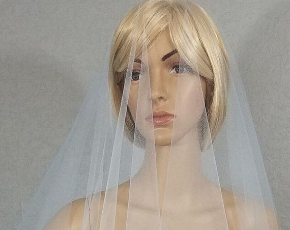 "Cathedral, Wedding Veil, Light Blue Vail, 43"" Drop Vale, Bridal Veil, White Veil, Ivory Veil, Long Veil, Pink Veil, Black Veil, Champagne"