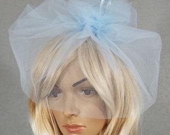 Birdcage Bridal Veil, Wedding Veil, Bridal Veil, Blue, Light Blue, Veil, Bridal Accessory, Cage Veil, Bride, Accessory, Gift