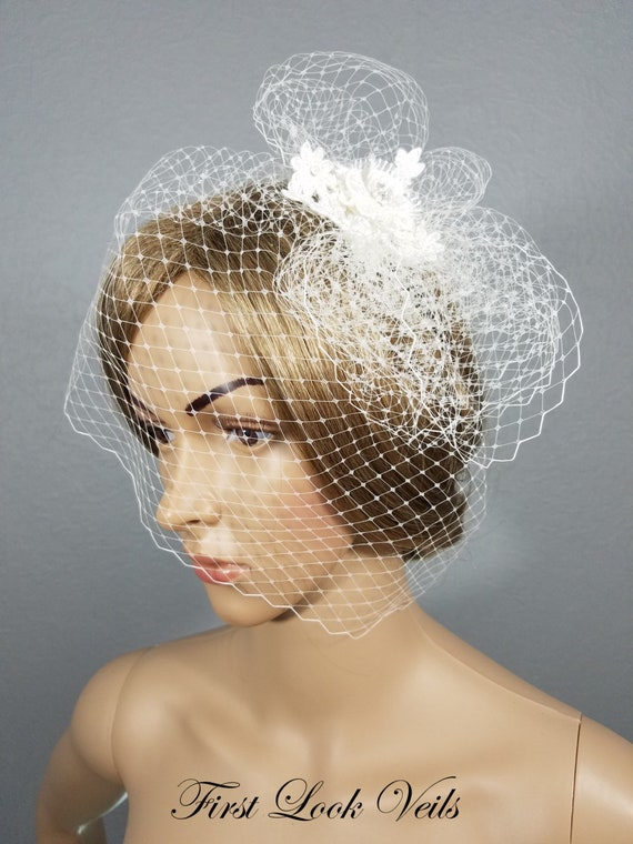 Ivory Birdcage, Bridal Cage Veil, Wedding Headpiece, Ivory Blusher, Ivory Russian Netting, Lace Cage Veil, Bow Veil, Short Veil, Viel, Bride