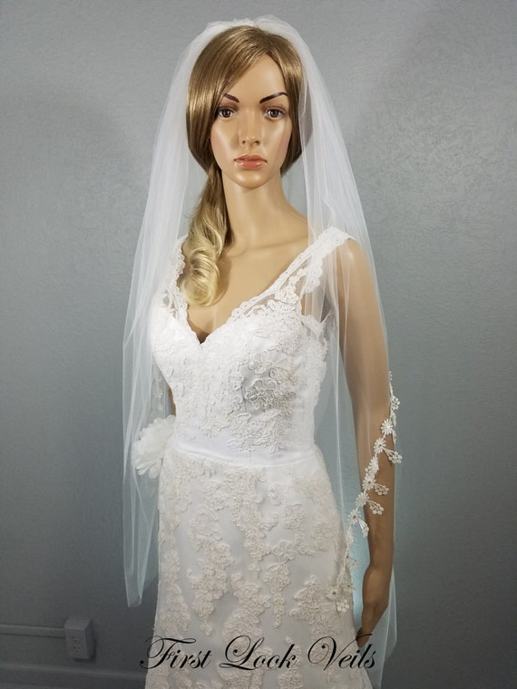White Bridal Veil, Lace Wedding Veil, Boho Veil, Peplum Veil, Crystal Veil, Wedding Vail, Full Veil, Two Layer Veil, Bride, Retro Veil
