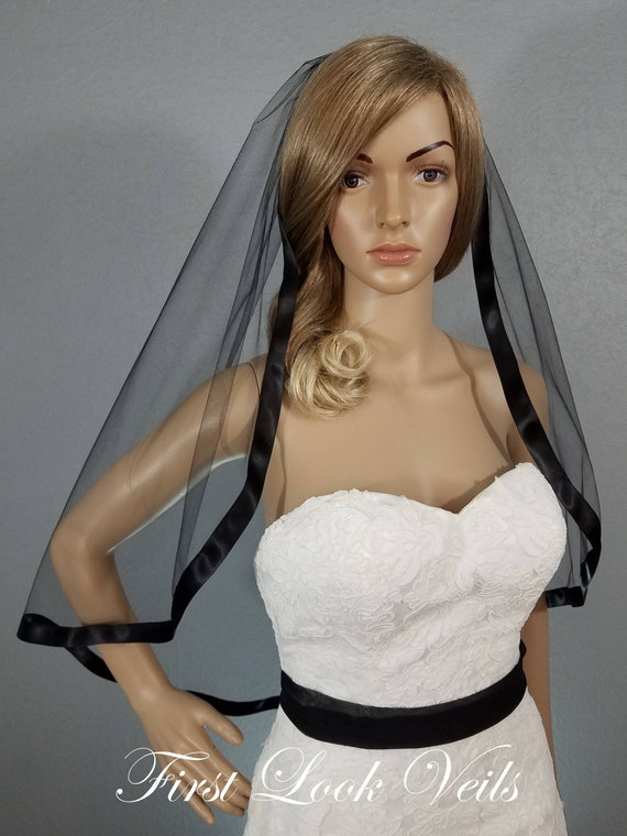Black Wedding Veil, Bridal Hip Veil, One Layer Ribbon Edged Wedding Vail, Bridal Attire, Bridal Accessory, Bridal Accessories, Plain Veil