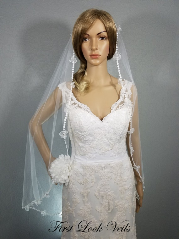 Lace Edge Veil, Fingertip Veil, White Bridal Vail, Wedding Vale, Floral Lace Veil, Rhinestone Accent Veil, Long Veil, Short Veil, Soft Veil