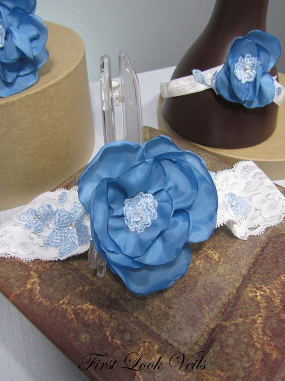 Blue Bridal Garter, Bridal Garter Set, Bridal Something Blue, Blue Satin Flowers, Bridal Accessories, Throw Garter, Keepsake Garter