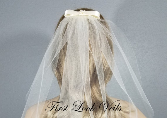 Ivory Bridal Veil, Chapel Vail, Wedding Vale, Bow Veil, Ribbon Veil, Plain Veil, Short Veil, White Veil, Black Veil, Bling, Elbow, Waist