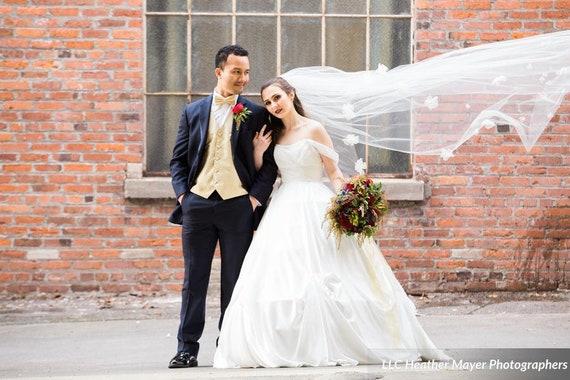 Wedding Veil, Bridal Veil, Chapel Veil, Beauty and the Beast,  Handmade, Bride, Accessory, Gift