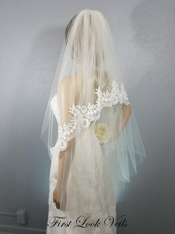 Lace Wedding Veil, Ivory Bridal Vail, Designer Fingertip, Floral Veil, Beaded Lace, Wedding Vail, Long Veil, Short Veil, Free Shipping