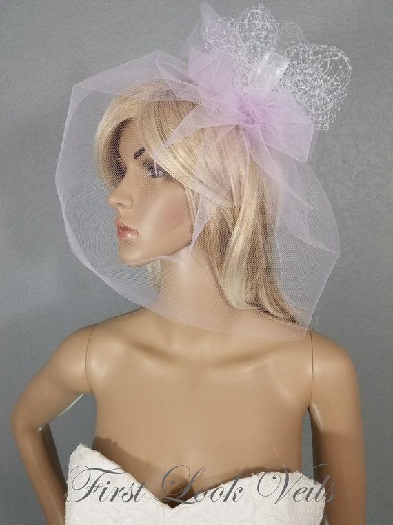 Birdcage Veil, Wedding Veil, Bridal Veil, Lavender Veil, Purple Veil, Veil, Bridal Accessory, Cage Veil, Bride, Accessory, White Birdcage