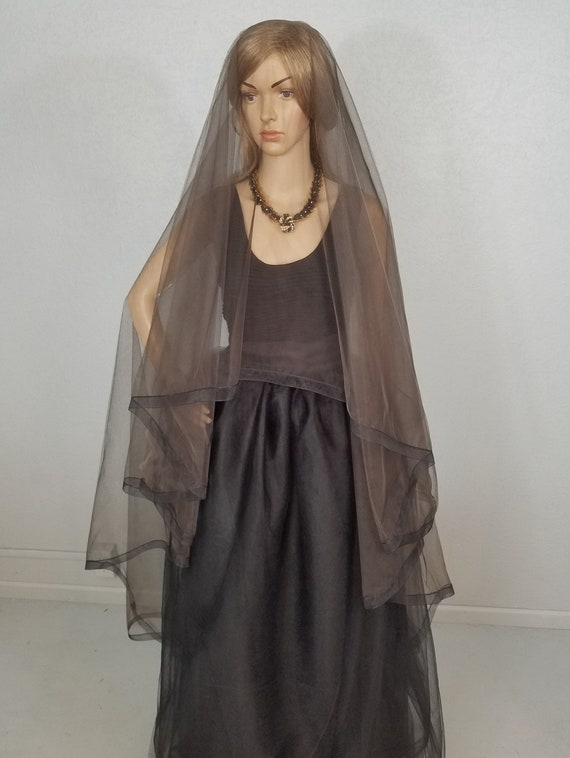 Black And Brown Bridal Veil, Ballet Veil, Black Veil, Drop Blusher Veil, two Layer Viel, Black Wedding Veil, Veil, Long Black Veil, Vail