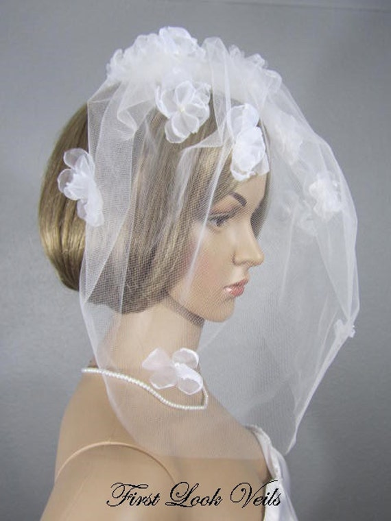 Birdcage Veil, White Veil, Blusher Veil, White Floral Cage Veil, Pearl Accents, Wedding Vail, Bridal Accessory, Ivory Blusher, White Blusher