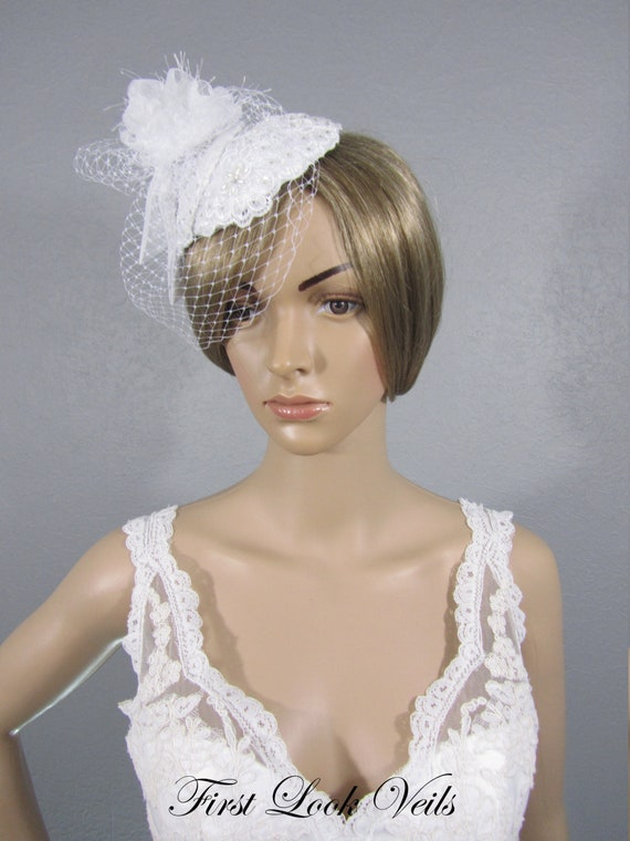 Birdcage Veil, White Fascintaor, White Women's Hat, Floral Bird cage, Wedding Vail, Bridal Head Piece, Wedding Headpiece, Lace cage