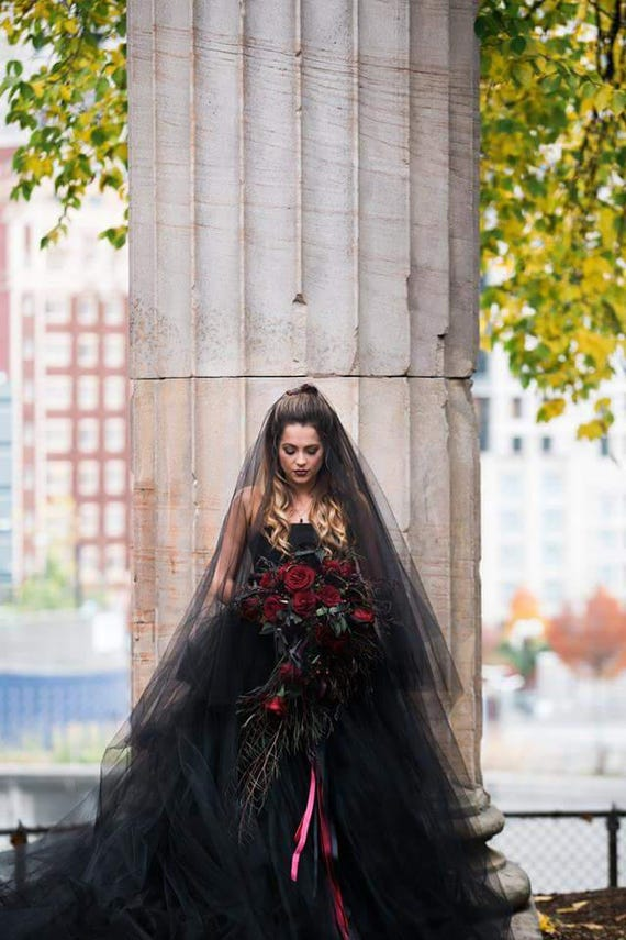 Black Bridal Veil, Cathedral Veil, Drop Blusher Veil, One Layer Plain Viel, Blusher, Black Wedding Veil, Veil, Bride, Long Black Veil, Vail