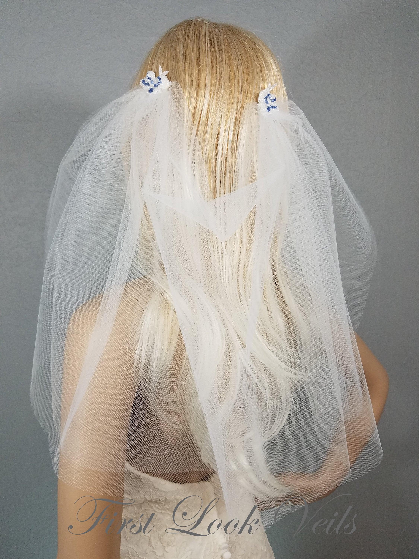 Wedding Veil Bridal Vail Draped Shoulder Vale Diamond White And Blue Drop Veil Short Veil White Veil Drape Veil Brides Veil Lace