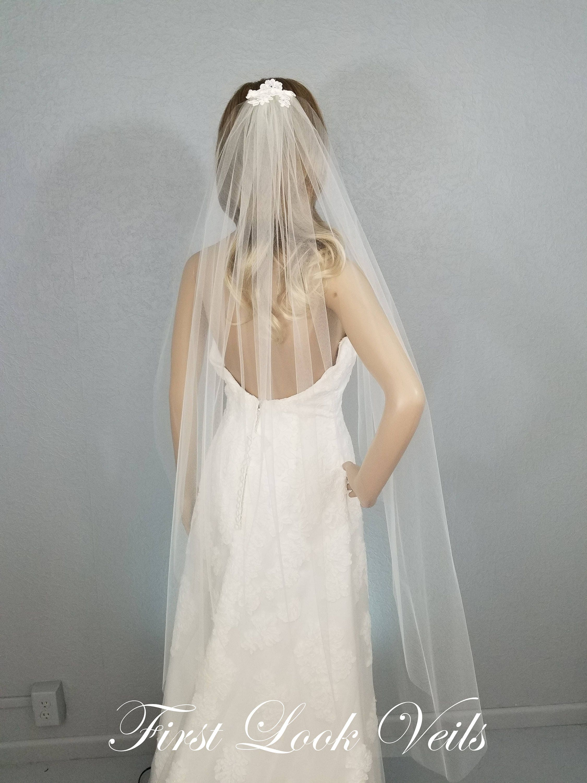 Ivory Bridal Veil Lace Top Fingertip Vail Wedding Vale