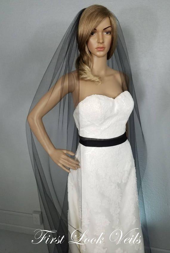 Black Wedding Veil, Bridal Cathedral Veil, One Layer Plain Vail, Accessory, Bridal Accessories, Sheer Veil, Long Veil, Black Veil