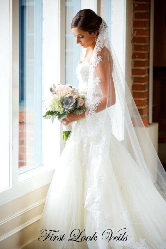 Wedding Veil, Bridal Mantilla Veil, Cathedral Veil, Handmade, Bride, Lace Veil, Beaded Veil, Crystal Veil, Ivory Veil, White Veil,