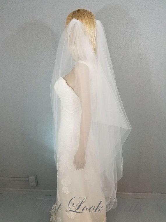 Wedding Veil, Bridal Veil, Draped Fingertip Veil, Diamond White Veil, Drop Veil, Handmade, Bride, Accessory, Ivory Veil, Pink Veil, Vail