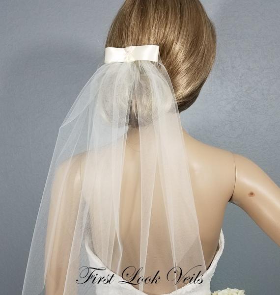 Ivory Bridal Veil, Fingertip Vail, Wedding Vale, Bow Veil, Ribbon Veil, Plain Veil, Short Veil, White Veil, Black Veil, Bling, Elbow, Waist