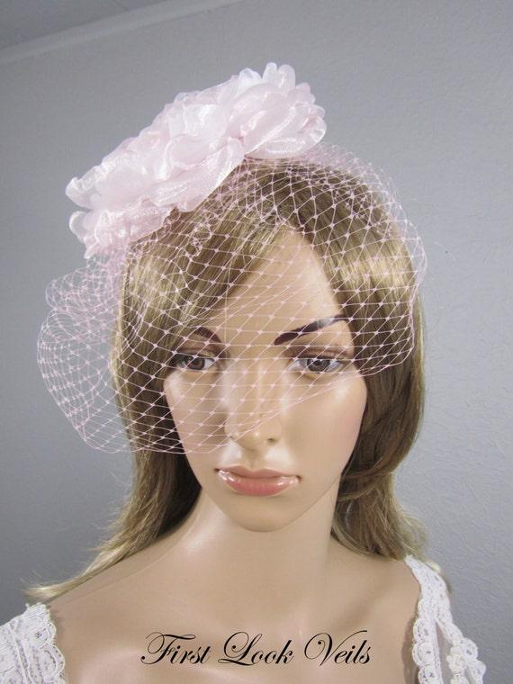Pink Birdcage Wedding Veil, Bridal Veil, Bird Cage Veil, Pink Russian Netting Veil, Valentine Bridal Accessory, Pink Veil, Pink Hair Comb