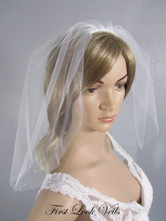 White Wedding Veil, Blue Bridal Vail, Shoulder Vale, Blue Accent Veil, Bridal Veil, Short Veil, Blue Veil, Blue Ribbon Veil, Brides Veil
