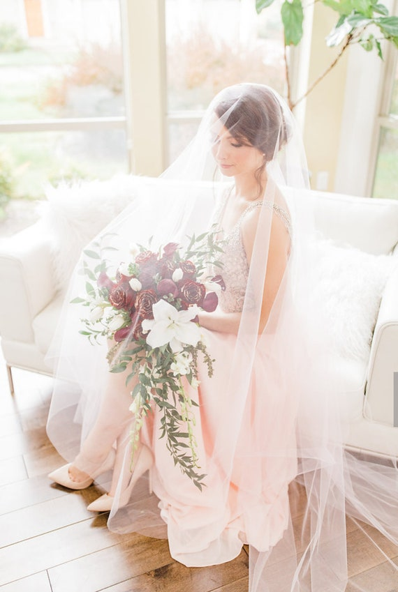 Wedding Veil, Bridal Veil, Cathedral Veil, Blush Pink Veil, Drop Veil, Handmade, Bride, Pink Veil, Blush Veil, Long Veil, Ivory Veil