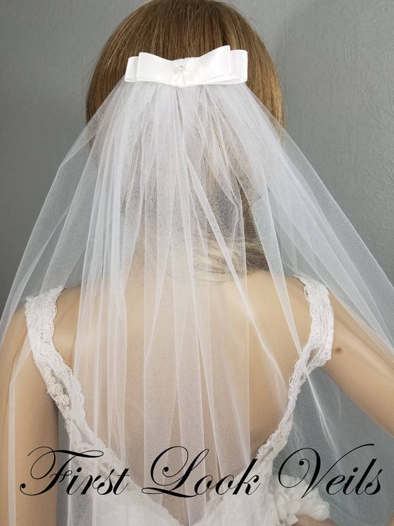 White Bow Veil, Bridal Elbow Veil, Wedding Bow Veil, Wedding Vail, Bridal Attire, Bridal Accessory, Wedding Accessories, Bride, Ivory Veil