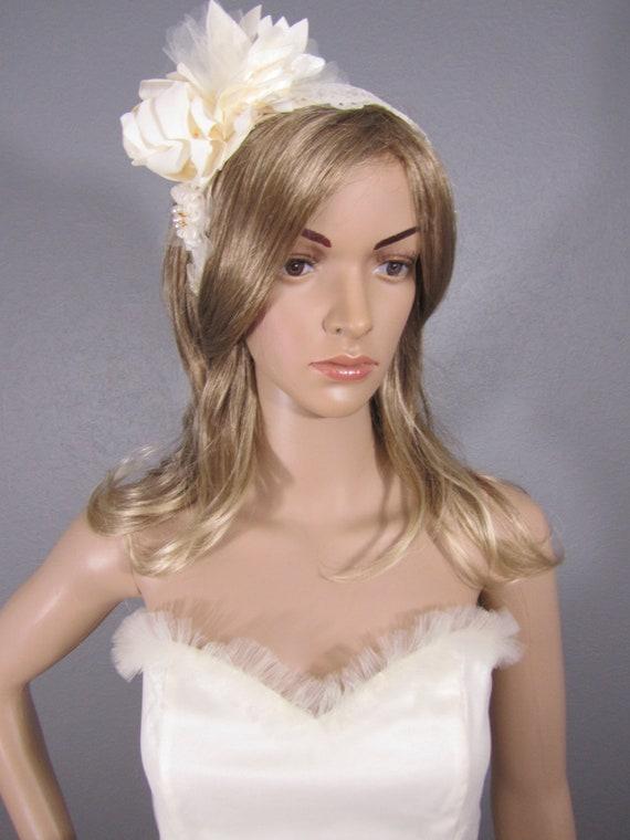 Ivory Bridal Headpiece, Bridal Headband, Bridal Lace Headpiece, Wedding, Flower Head band, Bridal Accessory, Bridal Hairpiece, Floral Piece
