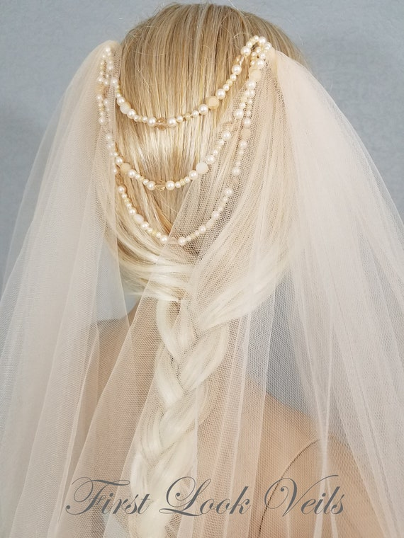 Wedding Veil, Bridal Veil, Draped Chapel Veil, Champagne, Swarovski Beads, Handmade, Bride, Accessory, Gift