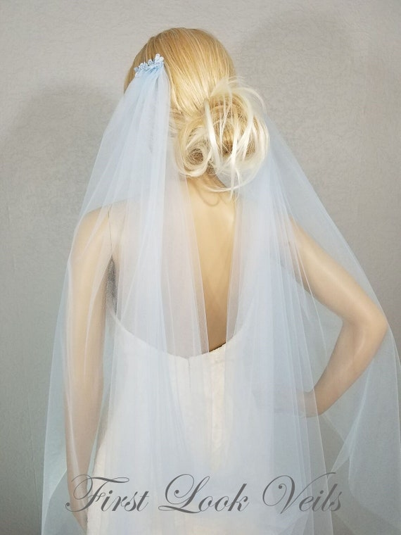 Wedding Veil, Bridal Veil, Draped Fingertip Veil, Blue, Drop Veil, Handmade, Bride, Accessory, Gift