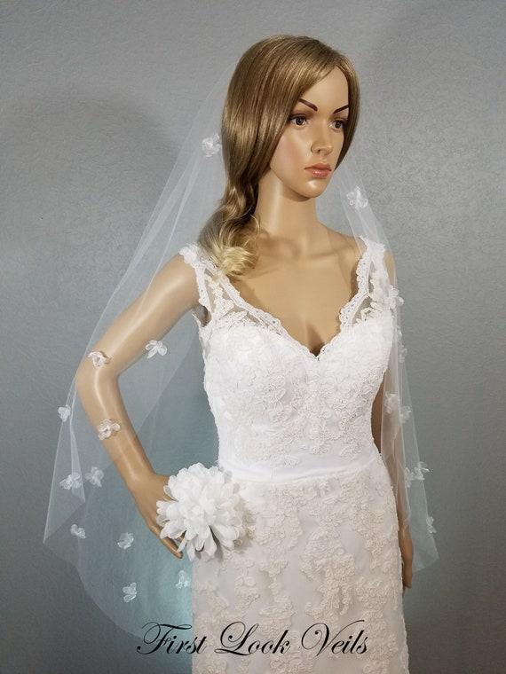 White Wedding Veil, Pink Beads Veil, Waltz Veil, Pink Wedding Veil, Floral Veil, White Bridal Veil, Bridal Accessory, Long Veil, Vale, Viel