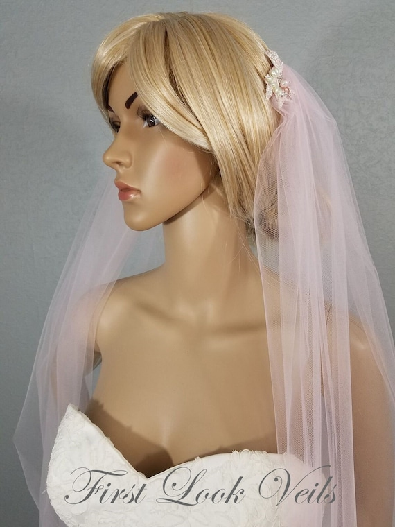 Wedding Veil, Bridal Veil, Draped Chapel Veil, Pink Veil, Handmade, Bride, Accessory, Gift