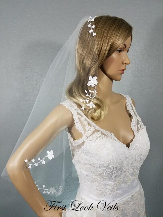 Lace Wedding Veil, White Bridal Vail, Hip Vale, Floral Veil, Lace Veil, Short Veil, Long Veil, Tulle Veil, Flowing Veil, Garden Veil, Soft