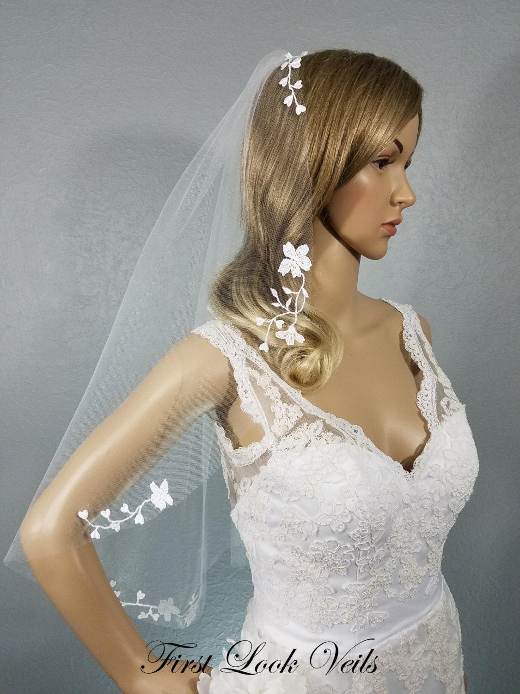 Lace Wedding Veil White Bridal Vail Hip Vale Floral Veil