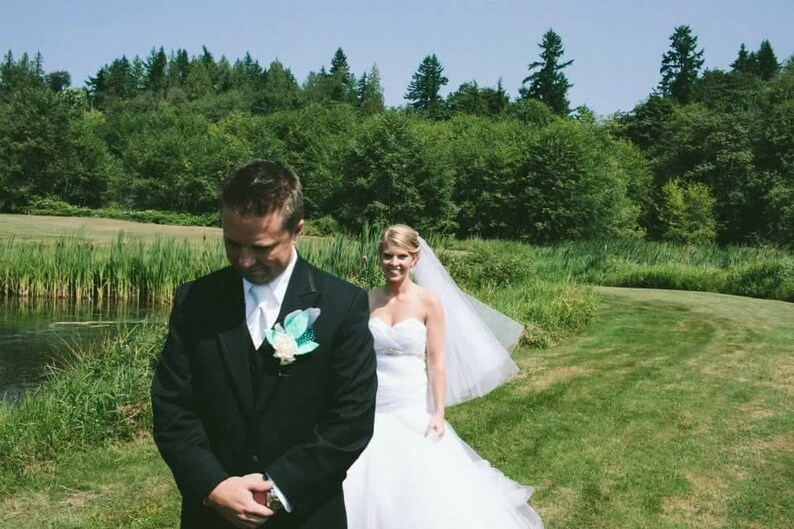 White Wedding Veil Bridal Hip Vale One Layer Plain Viel image 0