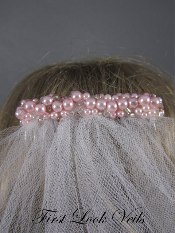 White Bridal Veil, Pink Accent Veil, Lace Wedding Veil, Elbow Veil, Pink crystal Veil, Bride, Bridal Accessory, Pink Veil, Wedding Veil