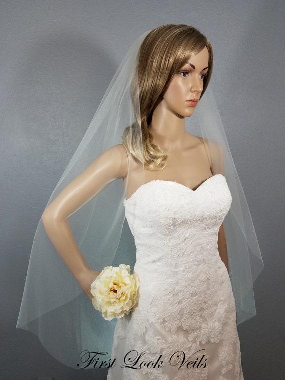 Ivory Wedding Veil, Bridal Fingertip Veil, Wedding Vail, Short Veil, Long Veil, Colored Vale, Black Veil, White Veil, Pink, Blue, Champagne