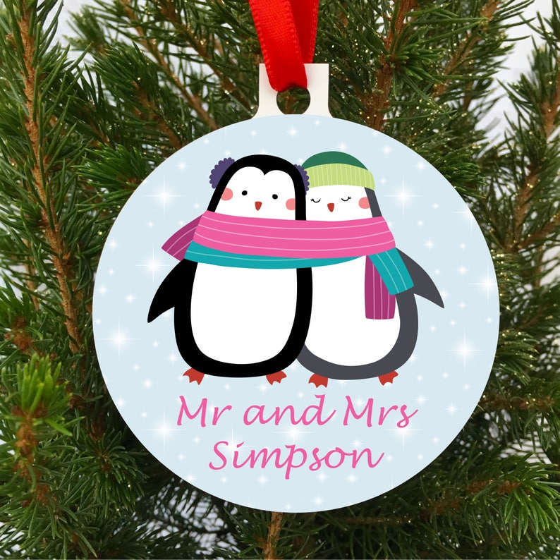 Personalised Mr And Mrs Christmas Tree Decoration Ornament 1st Christmas Married Baulble Decoration Uk